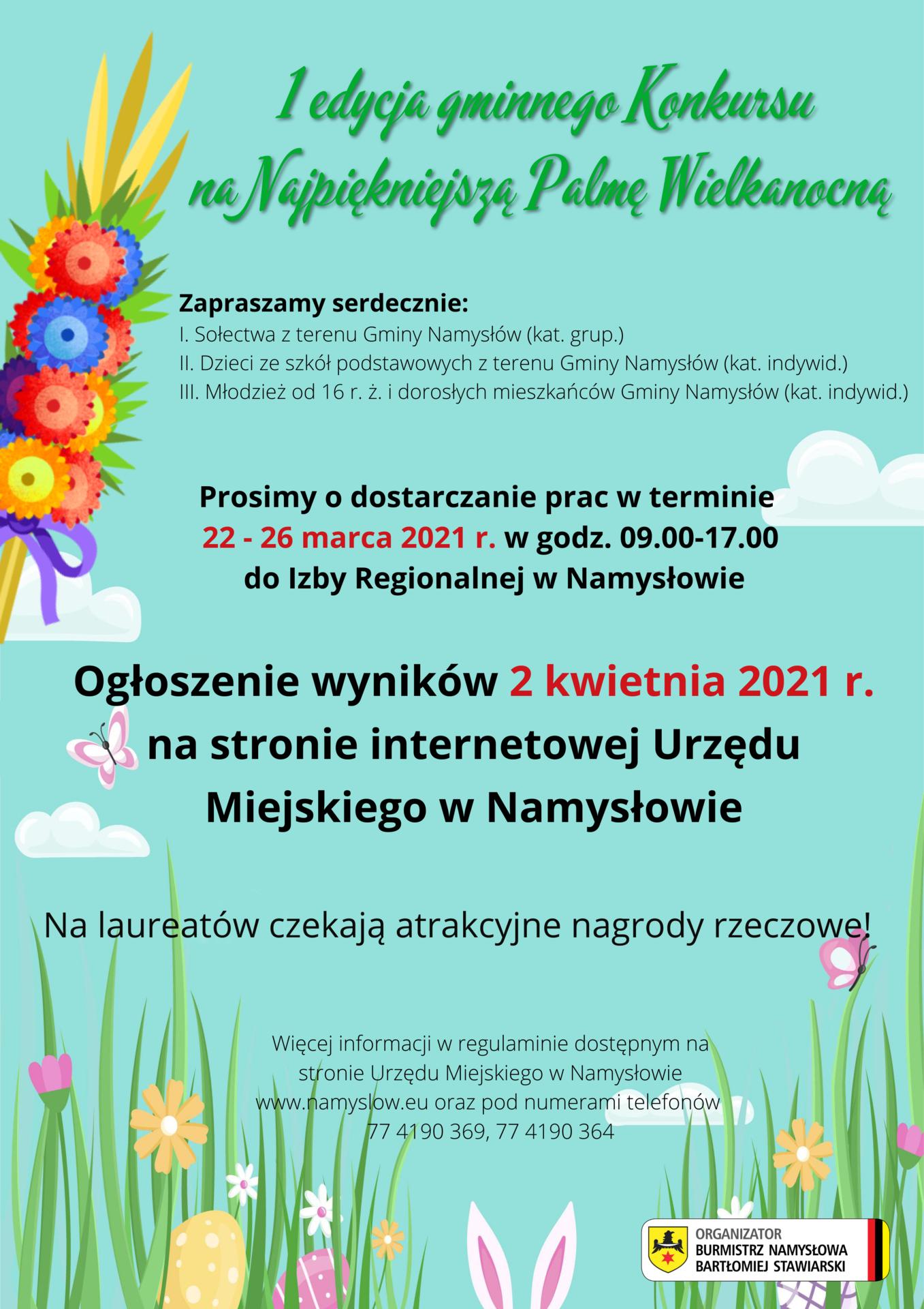 Burmistrz Namysłowa zaprasza do udziału w I edycji gminnego konkursu na najpiękniejszą Palmę Wielkanocną (15).png