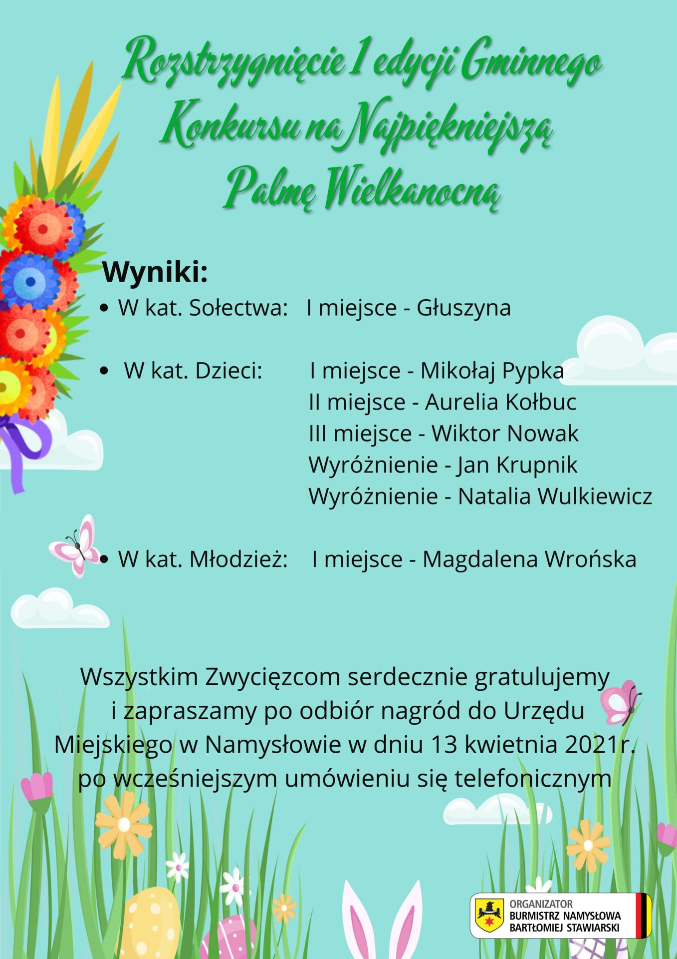Burmistrz Namysłowa zaprasza do udziału w I edycji gminnego konkursu na najpiękniejszą Palmę Wielkanocną (20).png