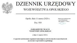 Zarządzenie Nr 43-20 Wojewody Opolskiego z dnia 11 marca 2020 roku.jpeg