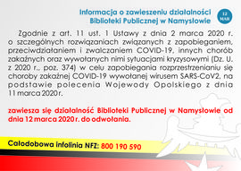 Informacja o zawieszeniu działalności Biblioteki Publicznej (12-03-2020).jpeg