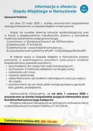 Informacja o otwarciu Urzędu Miejskiego w Namysłowie.jpeg