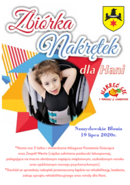 zbiórka nakrętek dla Hani - plakat.png