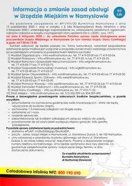 Informacja o zmianie zasad obsługi w Urzędzie Miejskim w Namysłowie (2020-11-03).jpeg